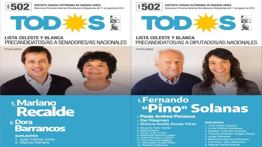 Boleta oficial Frente de Todos en la ciudad de Buenos Aires.