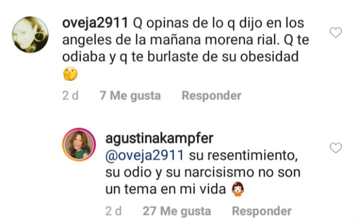La lapidaria respuesta de Agustina Kämpfer a Morena Rial