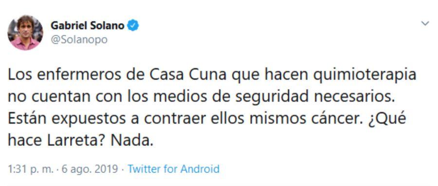 El tuit del candidato del Frente de Izquierda Unidad, Gabriel Solano.