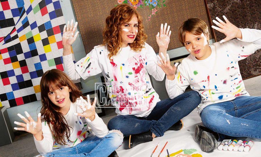 Karina El Azem con sus hijos