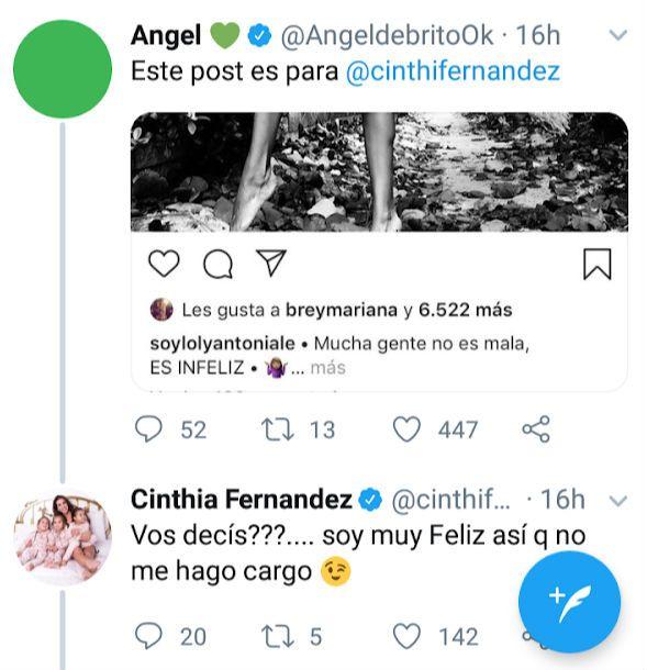 Mensaje Loly Antoniale para Cinthia Fernandez
