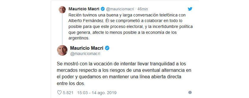 Mauricio Macri confirmó su charla con Alberto Fernández.