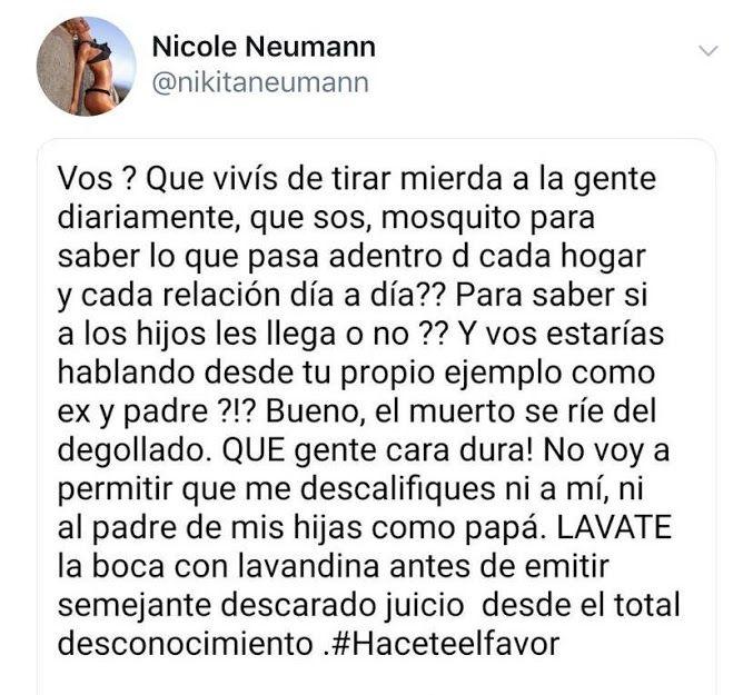 El mensaje de Nicole Neumann para Jorge Rial