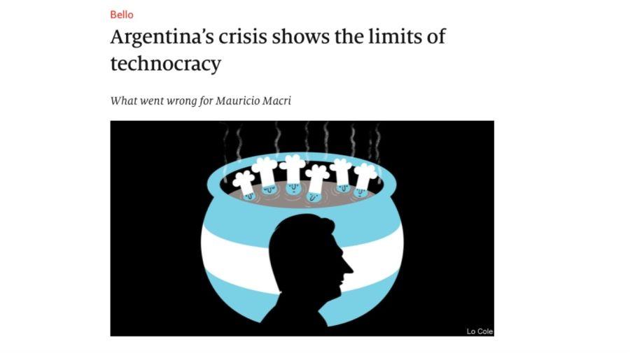 """La nota de The Economist titulada """"La crisis argentina muestra los límites de la tecnocracia""""."""