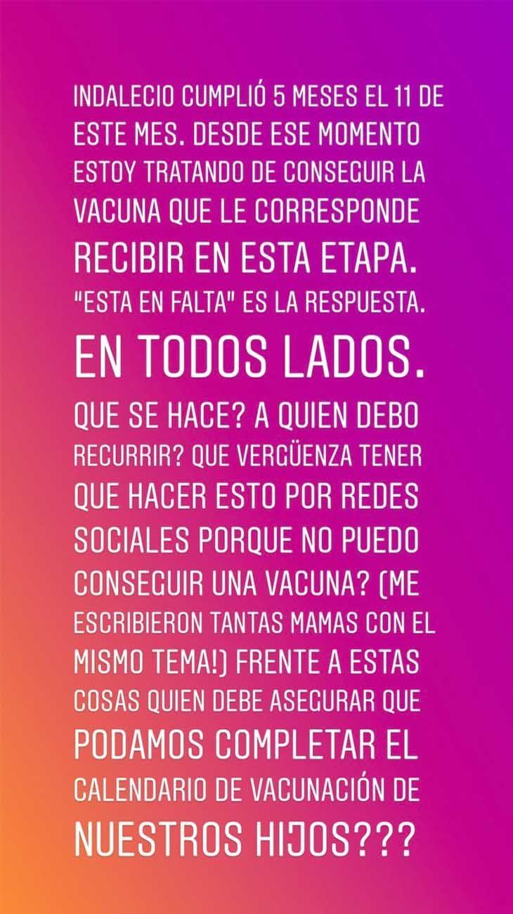 Luli Fernández reclamó por el faltante de vacunas