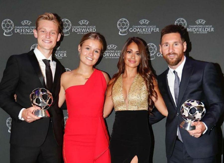 El look de Anto Roccuzzo en el sorteo de la Champions