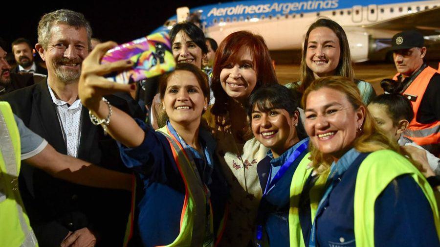 Selfies en la llegada de CFK a Misiones.
