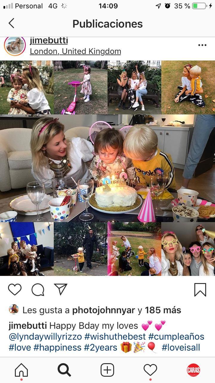 Jimena Buttigliengo festejó el cumpleaños de sus mellizos en Londres