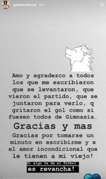Gianinna Maradona y el mensaje para su papá: