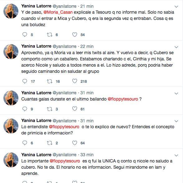 Yanina Latorre atacó a Floppy Tesouro en Twitter