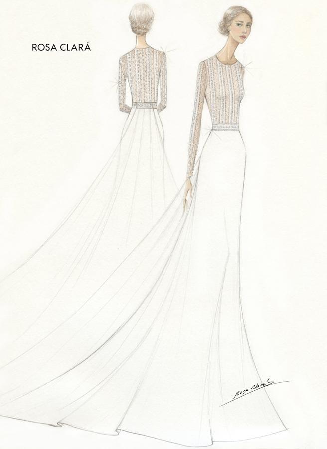 Diseño del vestido de novia de Mery Perelló