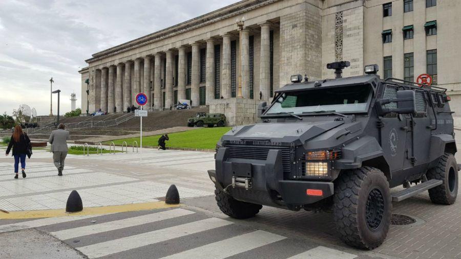 Seguridad en el área de la Facultad de Derecho, de la UBA.