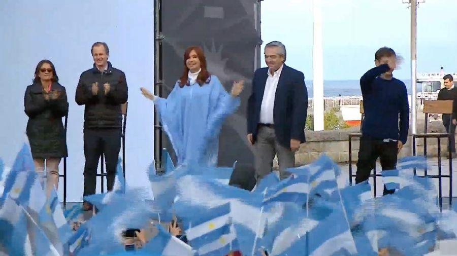 Cristina y Alberto en Mar del Plata. Cierre de campaña.