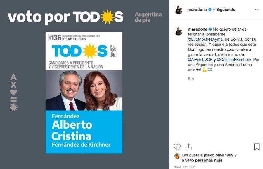 Maradona vota a Alberto y Cristina