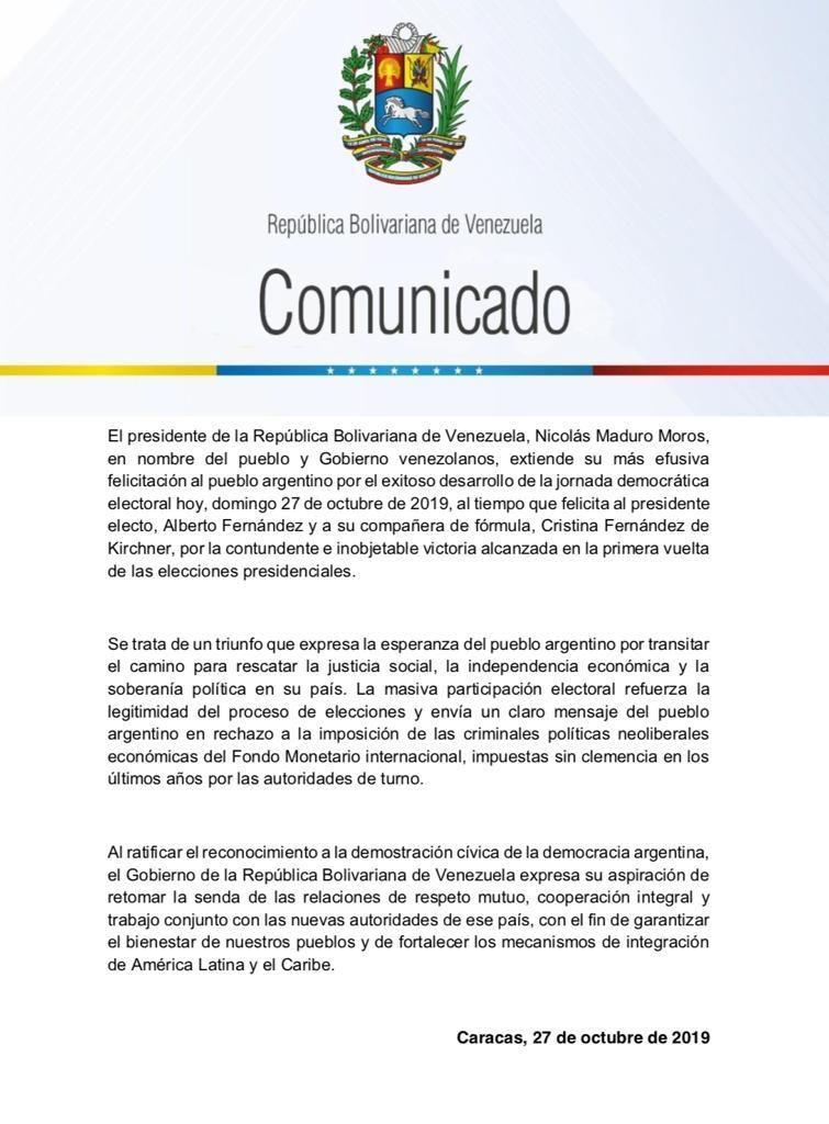 mensaje venezuela elecciones