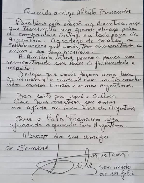 carta de lula da silva a alberto fernandez