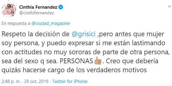 Cinthia Fernández salió al cruce y le respondió a Griselda Siciliani
