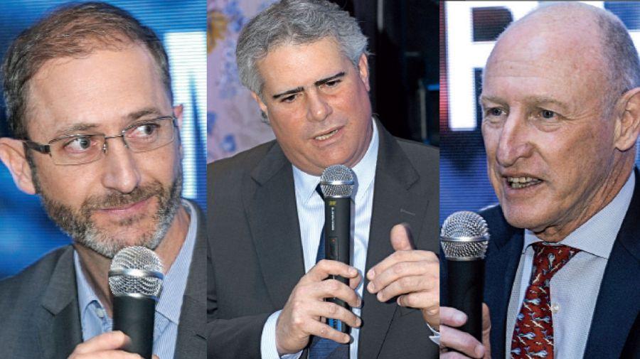 Federico Trucco, director ejecutivo de Bioceres; Carlos Zarlenga, presidente de GM Sudamérica; y Luis Fontana, director general de OSDE.