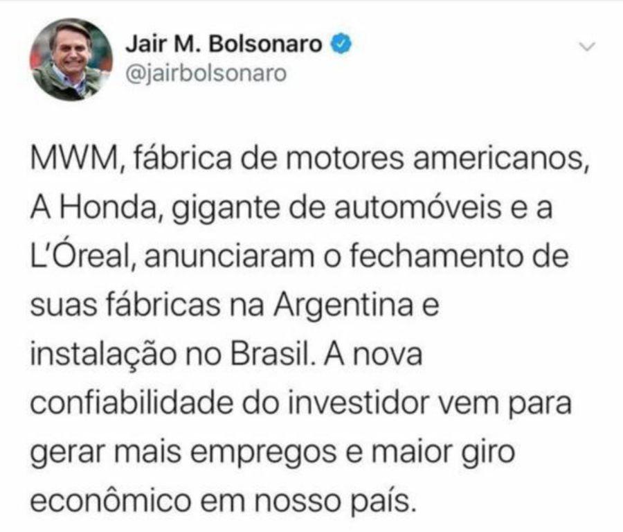 Tweet Bolsonaro