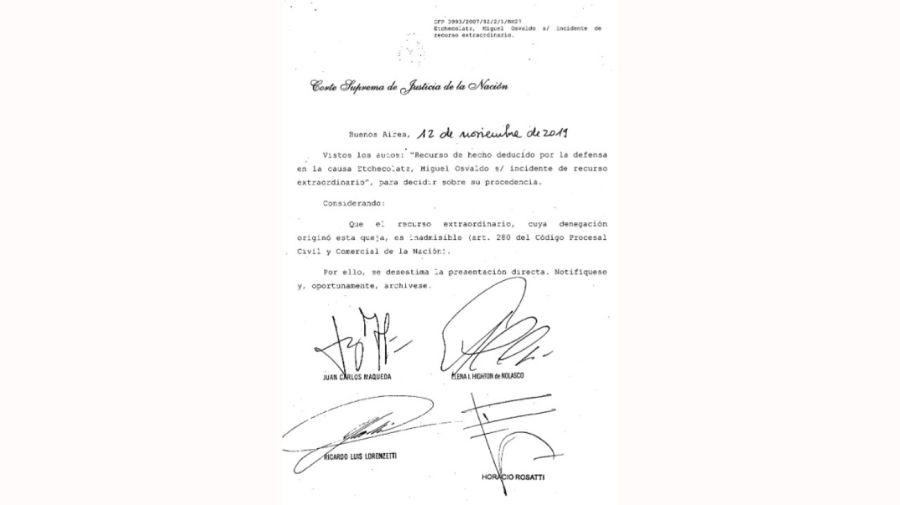 La Corte no hizo lugar al pedido de prisión domiciliaria de Etchecolatz.