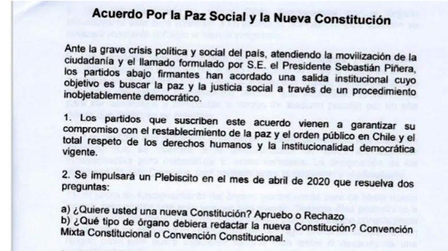 La parte inicial del documento de acuerdo alcanzado por las fuerzas políticas chilena sobre reforma constitucional.