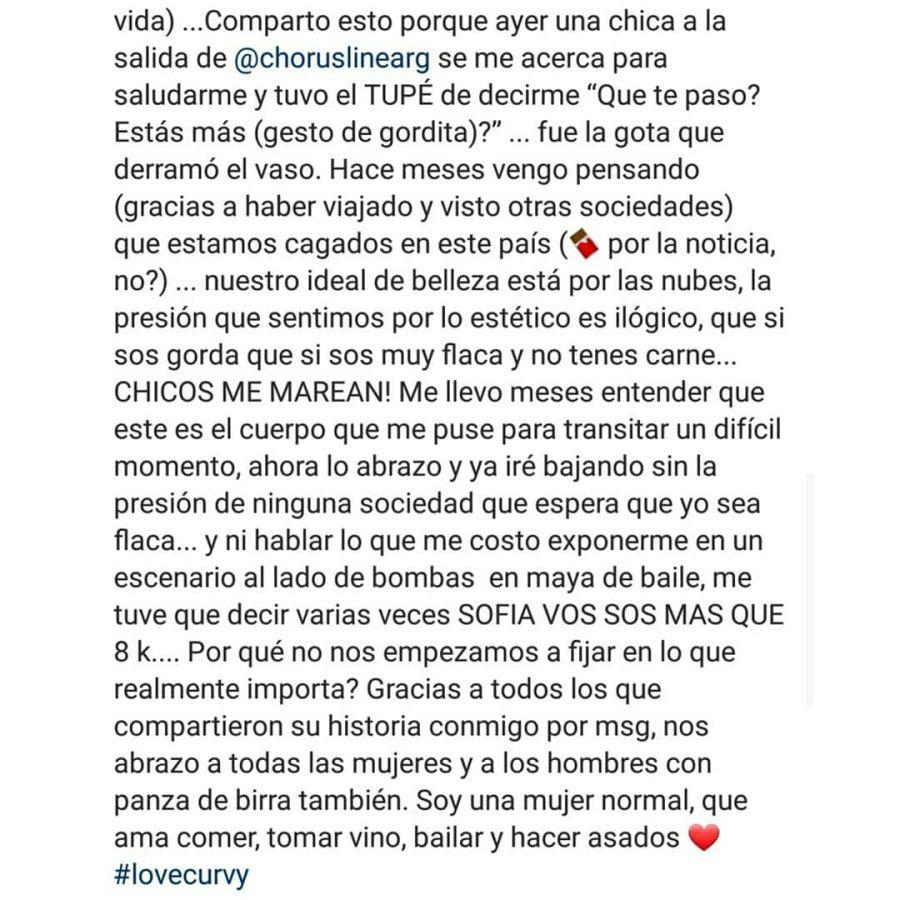 El contundente mensaje de Sofía Pachano sobre las críticas hacia su cuerpo