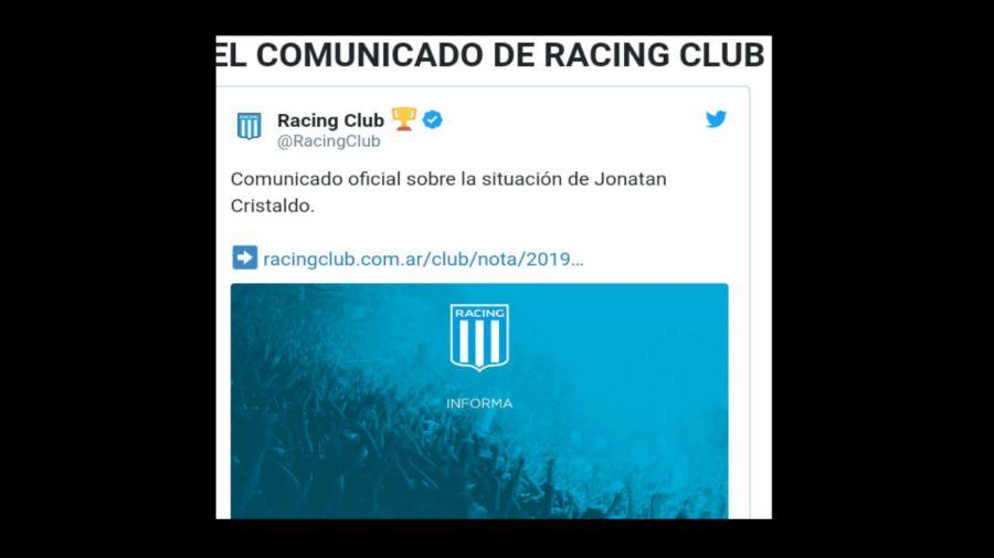 Comunicado de Racing por Cristaldo
