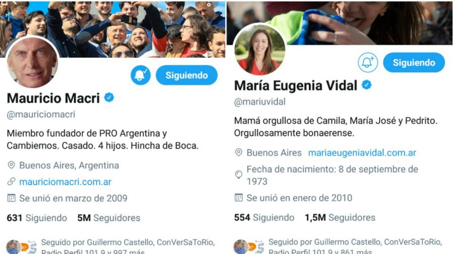 Perfil de Twitter de Macri y Vidal