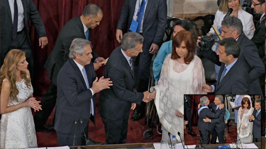 Alberto Fernández, Cristina Kirchner y Mauricio Macri