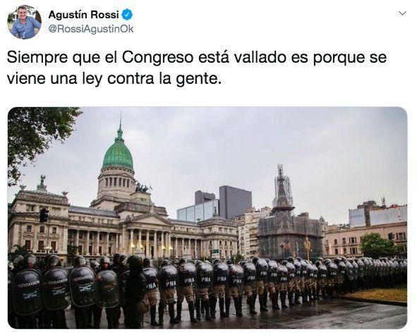 El tuit de Agustín Rossi de 2018