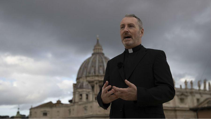 Monsignor Kennedy on terrace stock