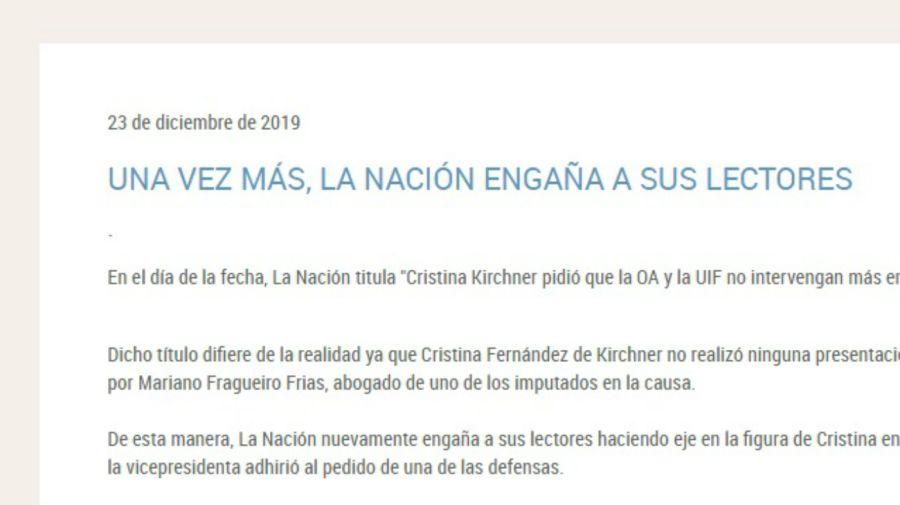 Comunicado del Senado con la crítica al diario La Nación