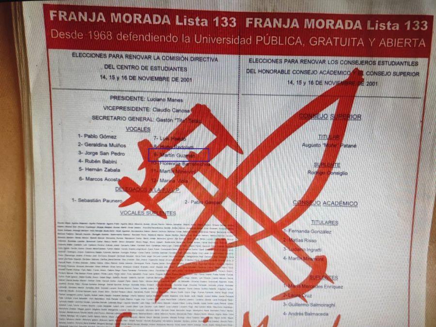 Boleta de Franja Morada de La Plata, 2001