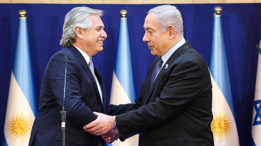 Alberto Fernández y Benjamin Netanyahu en su mensaje conjunto en Jerusalén. FOTO: PRESIDENCIA DE LA NACIÓN.