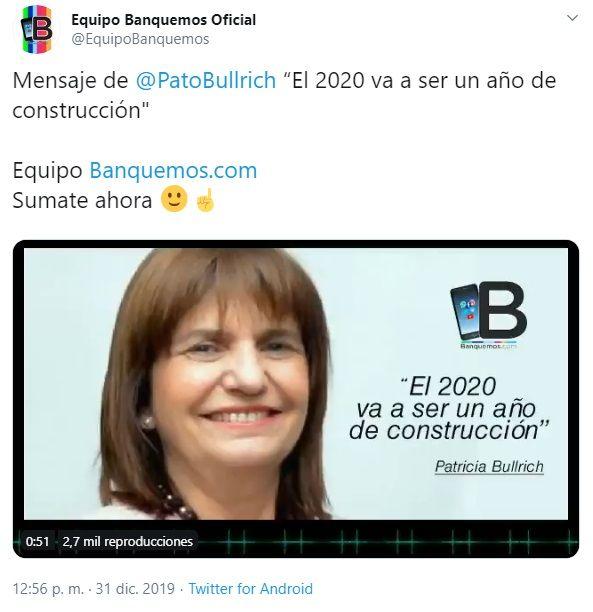 Mensaje de Patricia Bullrich a Banquemos