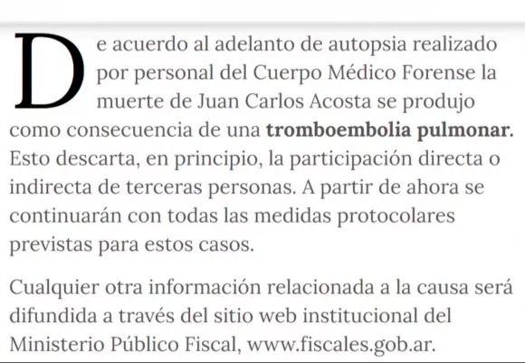 El resultado de la autopsia del bailarín Juan Carlos Acosta