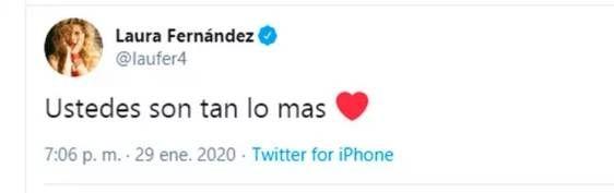 La reacción de Laurita Fernández tras las polémicas declaraciones de su