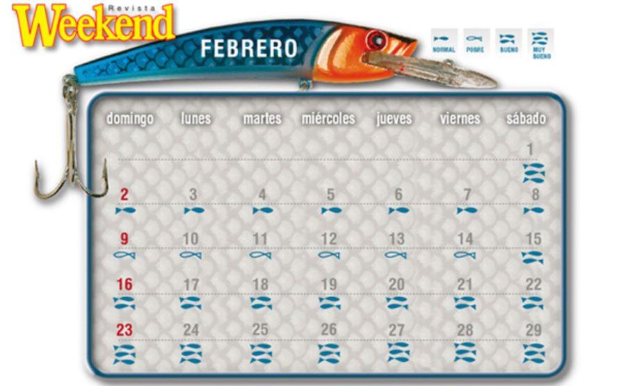 Calendario solunar de febrero 2020