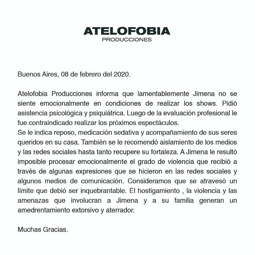 Comunicado oficial por Jimena Barón