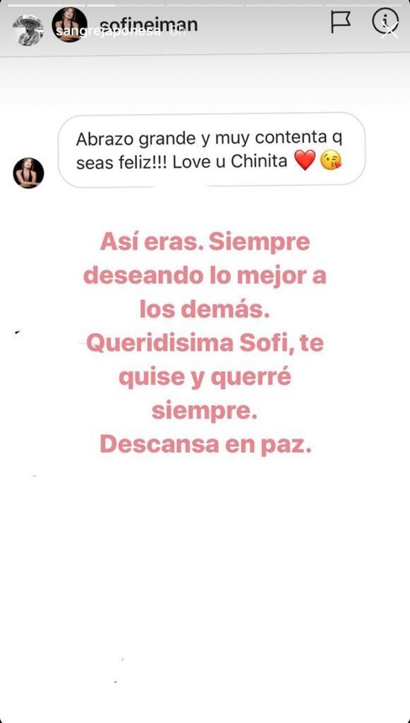 La China Suárez despidió a Sofia Neiman