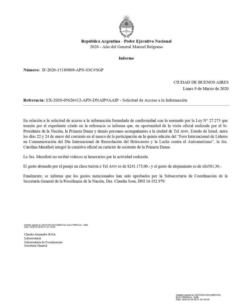 La confirmación del Gobierno por los gastos de Marafioti.