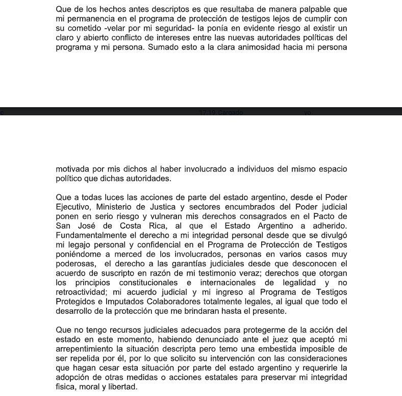 El escrito de Vandenbroele ante la CIDH