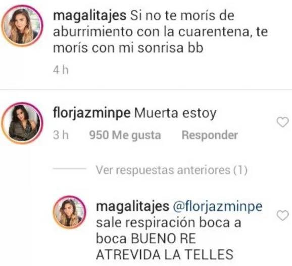 El picante intercambio entre Flor Jazmín Peña y Magalí Tajes en cuarentena