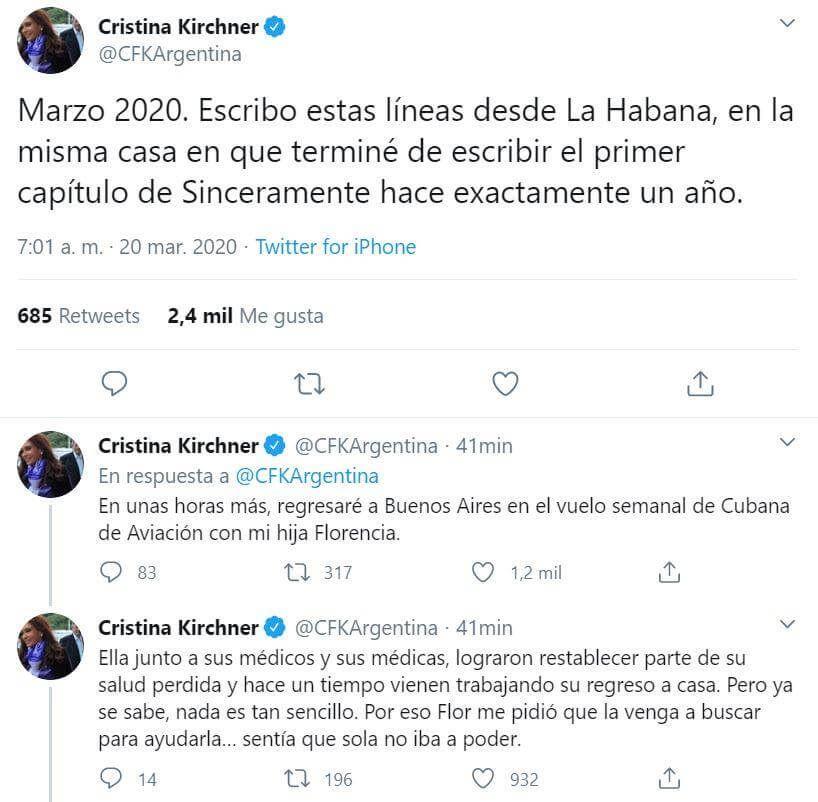 Cristina Kirchner anunció que vuelve Florencia:
