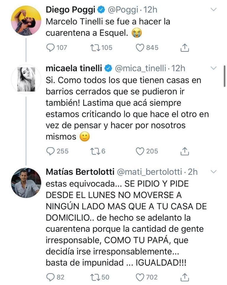 Mica Tinelli se enfrentó a dos periodista en Twitter