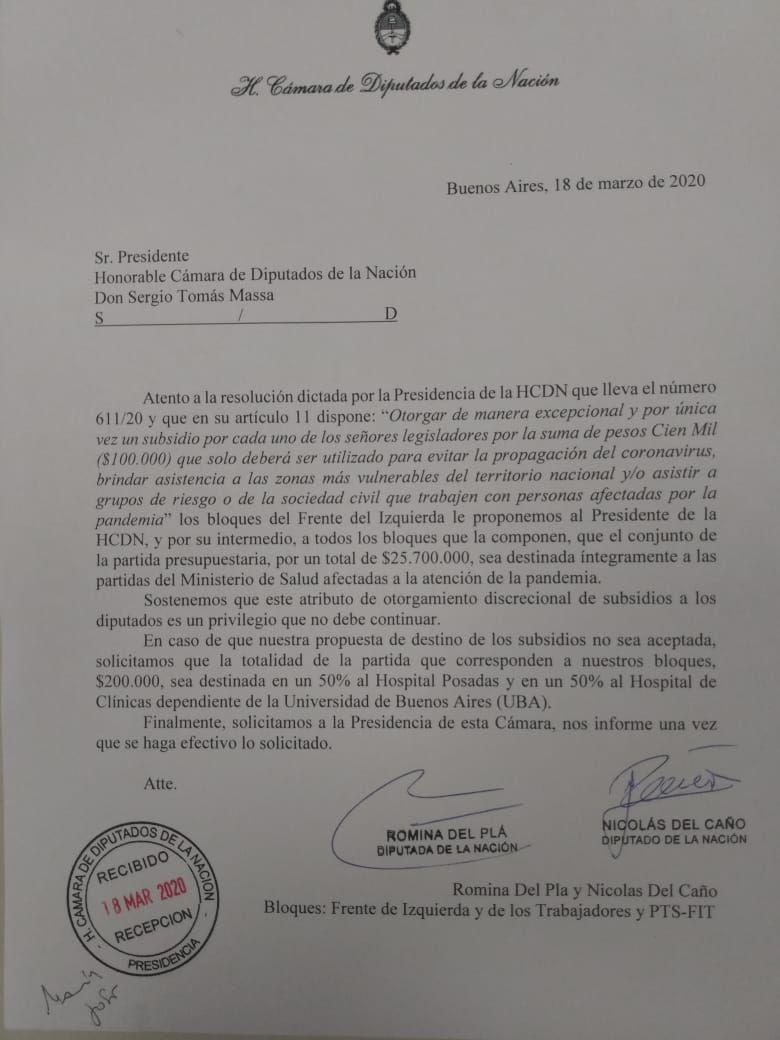 Carta del interbloque FIT