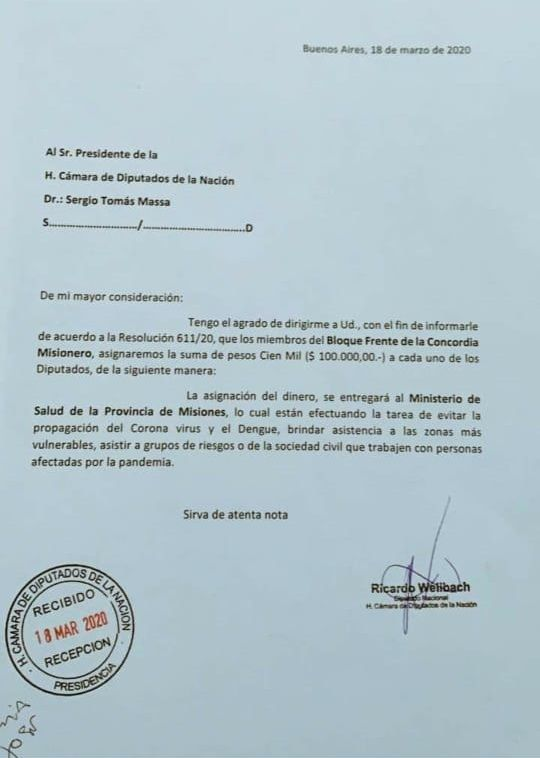 Carta Frente de la Concordia Misionero