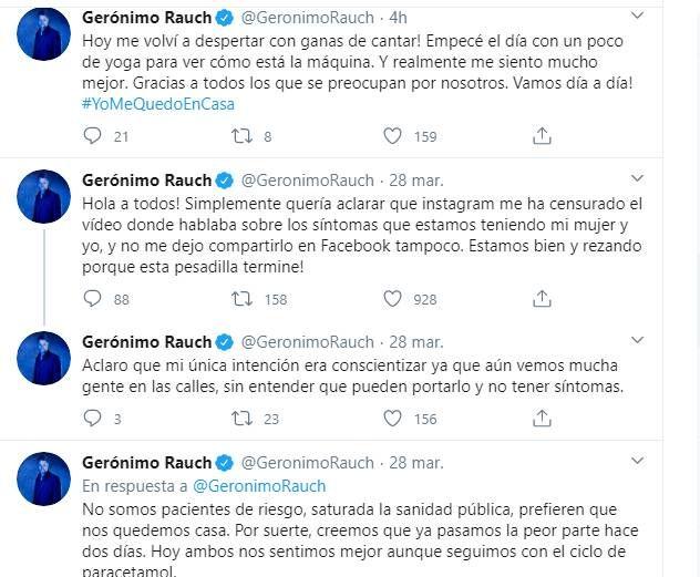 Gerónimo Rauch anunció que tiene coronavirus en redes pero eliminaron su video
