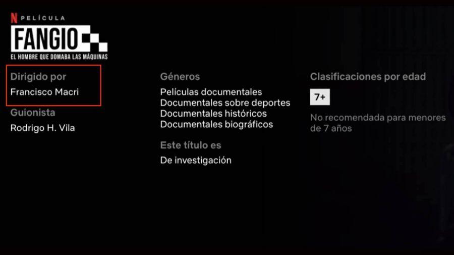 El hijo de Mauricio Macri hizo un documental sobre Fangio para Netflix