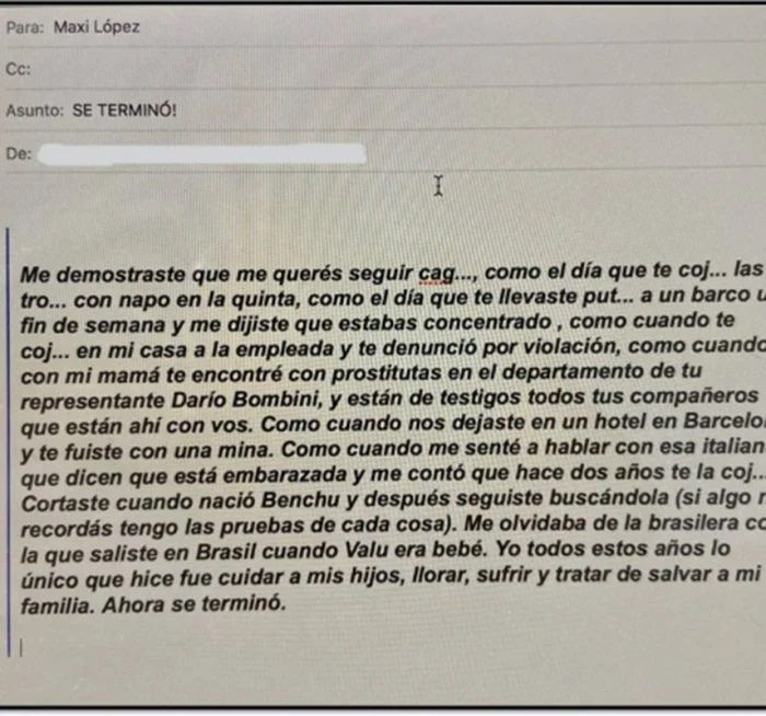 Filtran un mail de Wanda Nara en el que revela las infidelidades de Maxi López